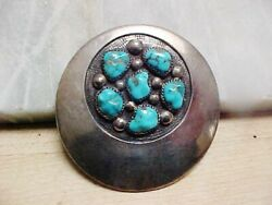 Frank Patania Sr Sterling And 6 Turquoise Modernist Cluster Brooch Pendant-nr