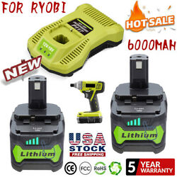 Battery And Charger For Ryobi P108 18v 18 Volt One+ Plus High Capacity Lithium-ion