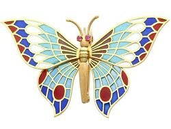 Plique-a-jour And Ruby 18ct Yellow Gold Butterfly Brooch Vintage Spanish 1970s