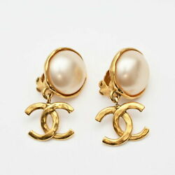 Stored Items Coco Mark Pearl Swing Earring 94a Gold P0897 No.4963