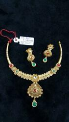 22kt Yellow Gold Antique South Indian Traditional Necklace Earring Fine Jewelry