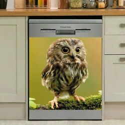 Cute Owl Decal Dishwasher Cover Decorative, Flowers Fridge Sticker Magnetic