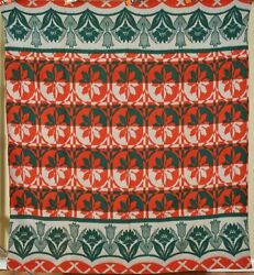 Vibrant Vintage 40's Camp Blanket Great Colors And Floral Border