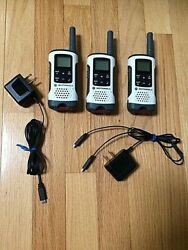 Motorola T260 Talkabout Radios, Set Of 3 Radios And 2 Charger Cables