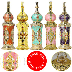Small Crystal Refillable Empty Perfume Bottles Metal Glass Vintage Antique Gift