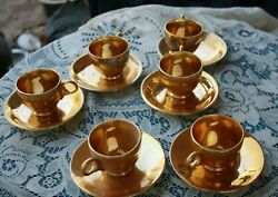 Fleetwood 22k Gold 4 Cups And Saucers Demitasse Size Flower Pattern In Gold