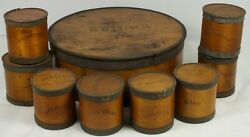Antique Round Banded Wooden Spice Box + 8 Individual Labeled Spice Containers