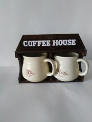 Chateau De Bois Wood His And Hers Coffee House Cupsn Hanging - Kitchen - Vtg