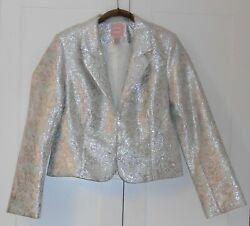 Old Navy Gray With Blue And Silver Glitter Embossed Jacquard Brocade Jacket/large