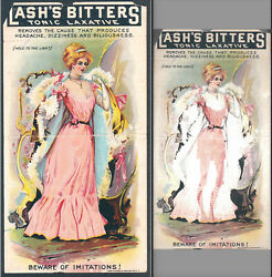 Lashs Bitters See-thru Dress Hold-to-light Skinny Victorian Lady Htl Trade Card