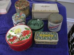 Large Lot Of 7 Vintage Tinsfruit Cake/candies /buttons /tobacco Very Old