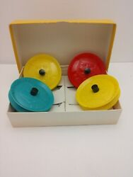 4 Vintage Easy Grip Playing Card Holders Round Plastic 1960s Northbrook W/ Box