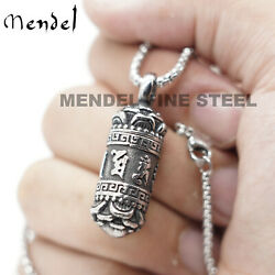 Mendel Tibetan Buddhist Urn Amulet Pendant Necklace For Ashes Stainless Steel