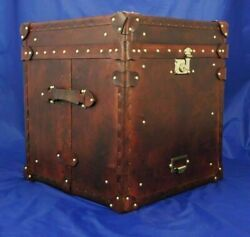 Handmade Leather Occasional Side Table Antique Trunk And Chest Best Christmas Gift