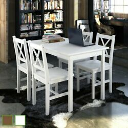 Garden Kitchen Dining Set Wooden Furniture Seat Table And Chairs White/brown