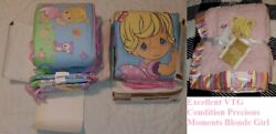 Vtg 3-pc Crib Set/bumper And Blanket Precious Moments Owls/blonde Girl Baby Shower