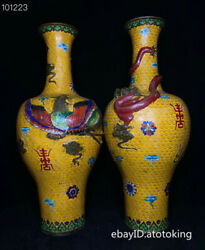 22.6 China Antique Cloisonne Floating Carving Dragon And Phoenix Vase Pair