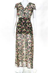 Reformation Womens Floral Short Sleeve Maxi Dress Black Green Pink Size Extra Sm