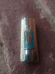 Vintage Lighter Cover Nickle Silver Woman Golfer Coral Turquoise Fits Bic...