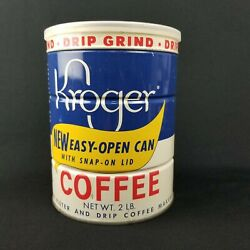 Vintage Kroger 2 Lb Sealed Unused Coffee Tin New Easy Open Can Snap-on Lid