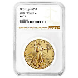 2021 50 Type 2 American Gold Eagle 1 Oz Ngc Ms70 Brown Label