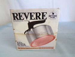 R Vintage New Revere Ware Tea Kettle 1992 Stainless Copper 3511217 6-cup Nib