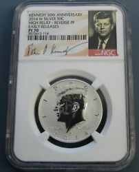 2014-w Silver Kennedy 50c High Relief Reverse Proof Ngc Pf70 50th Anni