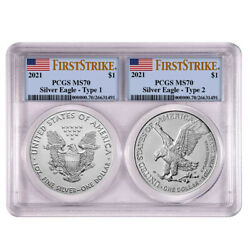 2021 1 Type 1 And Type 2 Silver Eagle Set Pcgs Ms70 Fs Flag Label