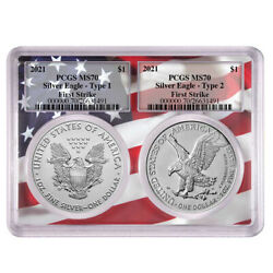2021 1 Type 1 And Type 2 Silver Eagle Set Pcgs Ms70 Fs Flag Frame