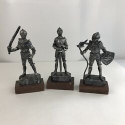 Lot Of 3 Vintage Plastic Knight Figures Wood Bases Statues 9 Hong Kong