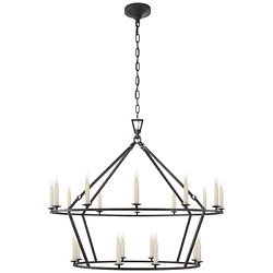 Darlana Aged Iron Large Two-tiered Ring Chandelier Visual Comfort Chc5179ai