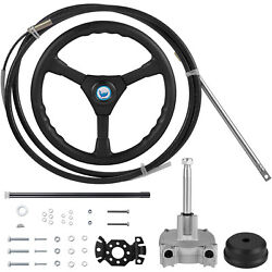 Vevor Boat Rotary Steering System Outboard Kit 10 Feet Marine With 13and039and039 Wheel