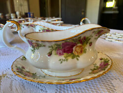 Old Country Roses Gravy Sauce Boat Royal Albert Bone China With Underplate 12oz