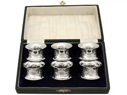 Sterling Silver Napkin Rings Set Of Six Antique Victorian 1897