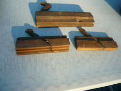 3 Antique Wood Molding Planes Two Small Planes With Blades One Large Crown Tool