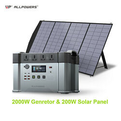 Portable Solar Power Station 2000w Generator Emergency Supply For Outdoor Camp