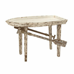 Zimlay Coastal Wooden Boat With Oars Accent Table 20442