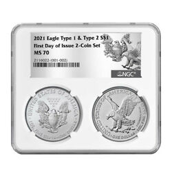 2021 1 Type 1 And Type 2 Silver Eagle Set Ngc Ms70 Fdi T1 T2 Label