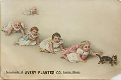 Avery Planter Co Peoria Il Advertising Trade Card 5 Toddlers Crawling Kitten Cat