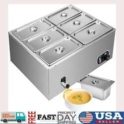 Us Electric Buffet Server 6 Plate Food Warmer Catering Dish Tray Stainless Steel