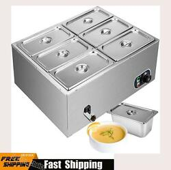 Electric Buffet Server 6 Plate Food Warmer Catering Dish Stainless Steel Tray