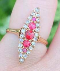 Rare Late 1800's Solid 14k Gold Rose Cut Diamond/ruby/garnet Ring- Size 6
