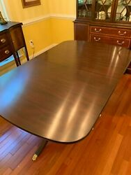 Henkel Harris Mahogany Double Pedestal Dining Table W/3 Leaves And Table Pads