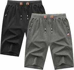 Zity Mens Shorts Big And Tall Casual Cotton Joggers Breathable Active Gym Shorts