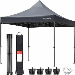 Pop Up Canopy Tent, 10×10 Ft Heavy Duty Commercial Instant Canopy Tent