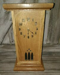 Wooden Tall 16 Beautiful Shelf Or Desk Clock Nicely Made Works But Read Ad Flaw