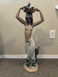 Lladro Half Naked Girl With Flower Basket On Head