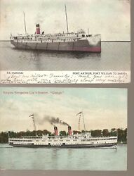 Pc43 Great Lakes Steamers - Cayuga + Huronic - Postcards - Lot Of 2 Used