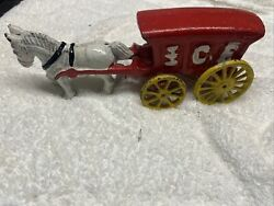 Vintage Cast Iron Toy Horse With Ice Wagon Cart Wheels Move