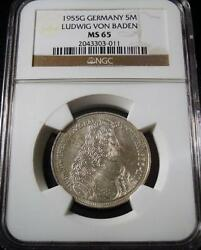 West Germany 1955 Ngc Ms65 5m Silver Coin Commemorating The 300th Anniversary Of